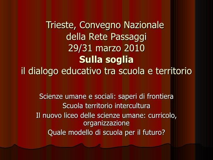 Trieste, Convegno Nazionale  della Rete Passaggi 29/31 marzo 2010 Sulla soglia il dialogo educativo tra scuola e territori...