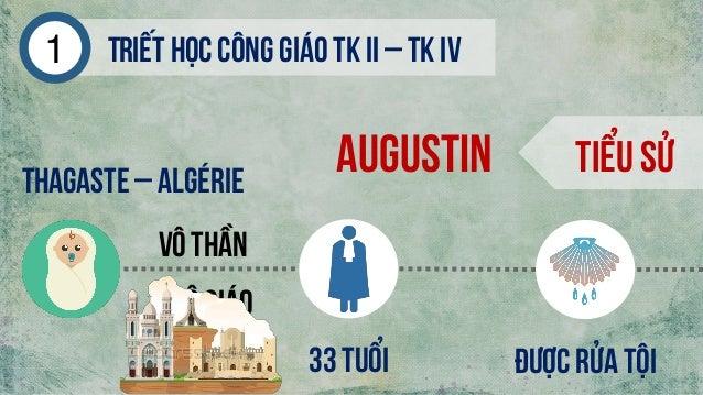 Triếthọc công giáo tk ii – tk iv1 Augustin Tiểu sửThagaste– Algérie Kitô giáo Vô thần 33 tuổi Được rửa tội