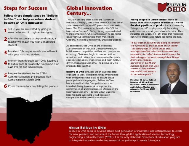 Trifold Believe In Ohio - Ohio roadmap