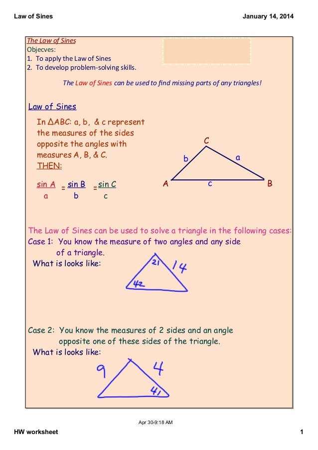 Law of Sines notes – Law of Sines Worksheet
