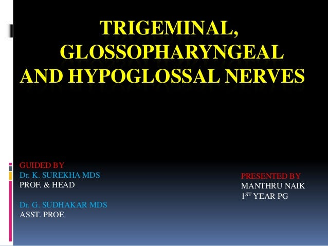 TRIGEMINAL, GLOSSOPHARYNGEAL AND HYPOGLOSSAL NERVES PRESENTED BY MANTHRU NAIK 1ST YEAR PG GUIDED BY Dr. K. SUREKHA MDS PRO...