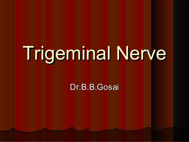 Trigeminal NerveTrigeminal Nerve Dr.B.B.GosaiDr.B.B.Gosai