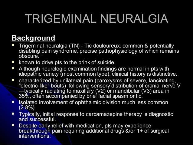 trigeminal neuralgia thesis Nicholas boulis, md, associate professor emory university department of  neurosurgery.