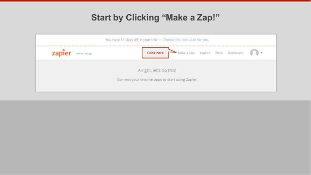 "Start by Clicking ""Make a Zap!"" Click here"