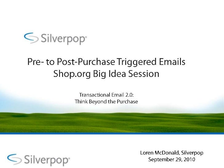 Pre- to Post-Purchase Triggered Emails Shop.org Big Idea SessionTransactional Email 2.0: Think Beyond the Purchase<br />Lo...