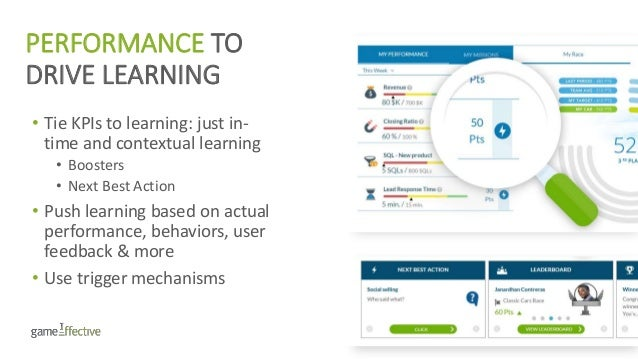 PERFORMANCE TO DRIVE LEARNING • Tie KPIs to learning: just in- time and contextual learning • Boosters • Next Best Action ...