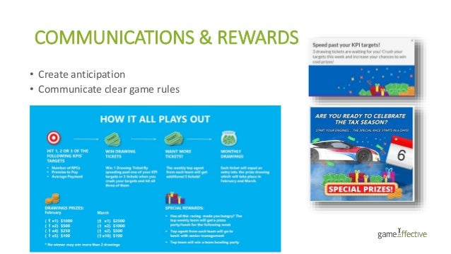 COMMUNICATIONS & REWARDS • Create anticipation • Communicate clear game rules