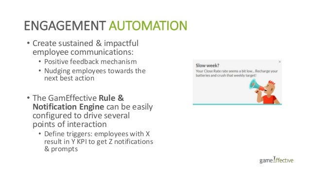 ENGAGEMENT AUTOMATION • Create sustained & impactful employee communications: • Positive feedback mechanism • Nudging empl...