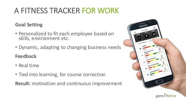 A FITNESS TRACKER FOR WORK Goal Setting • Personalized to fit each employee based on skills, environment etc. • Dynamic, a...