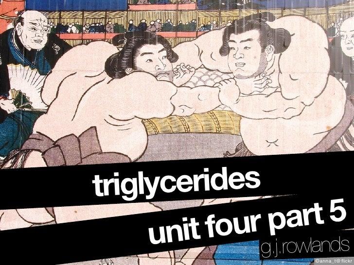 triglycerides             ur p  art 5       nit fo g.j.rowlands      u                      ©anna_t@flickr