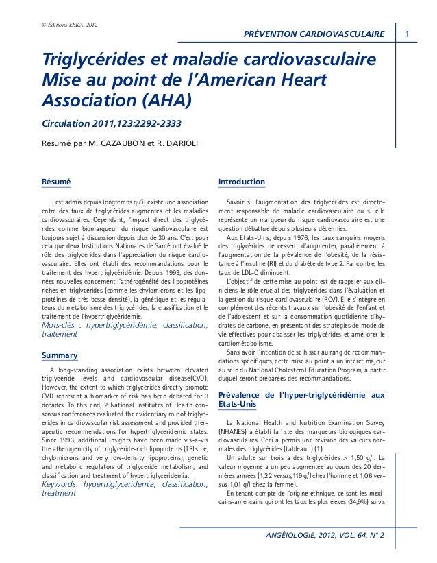 PRÉVENTION CARDIOVASCULAIREANGÉIOLOGIE, 2012, VOL. 64, N° 21© Éditions ESKA, 2012RésuméIl est admis depuis longtemps qu'il...