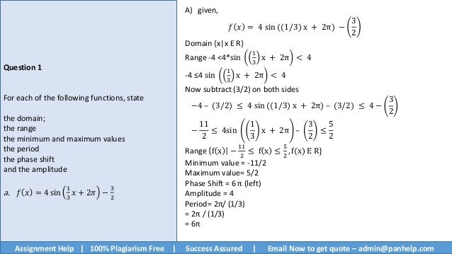 trigonometric functions and graphs assignment