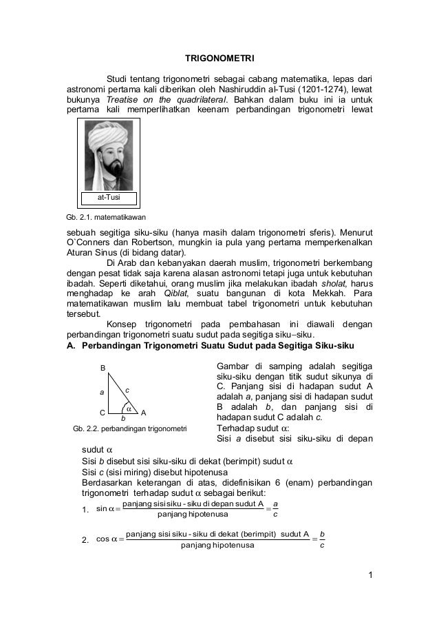at-Tusi Gb. 2.1. matematikawan TRIGONOMETRI Studi tentang trigonometri sebagai cabang matematika, lepas dari astronomi per...