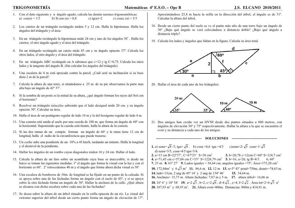 TRIGONOMETRÍA                                                                     Matemáticas 4º E.S.O. – Opc B           ...
