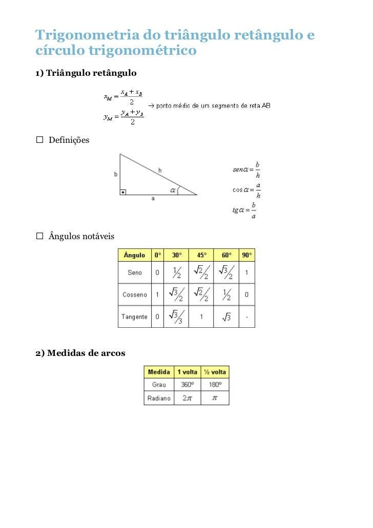 Trigonometria do triângulo retângulo ecírculo trigonométrico1) Triângulo retângulo  Definições  Ângulos notáveis2) Medidas...