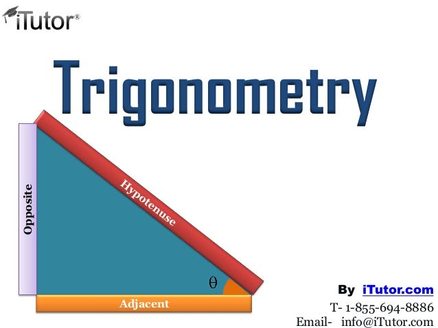 Trigonometry Adjacent Opposite T- 1-855-694-8886 Email- info@iTutor.com By iTutor.com
