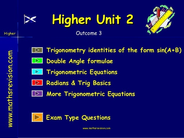 Higher Unit 2 www.mathsrevision.com  Higher  Outcome 3  Trigonometry identities of the form sin(A+B) Double Angle formulae...