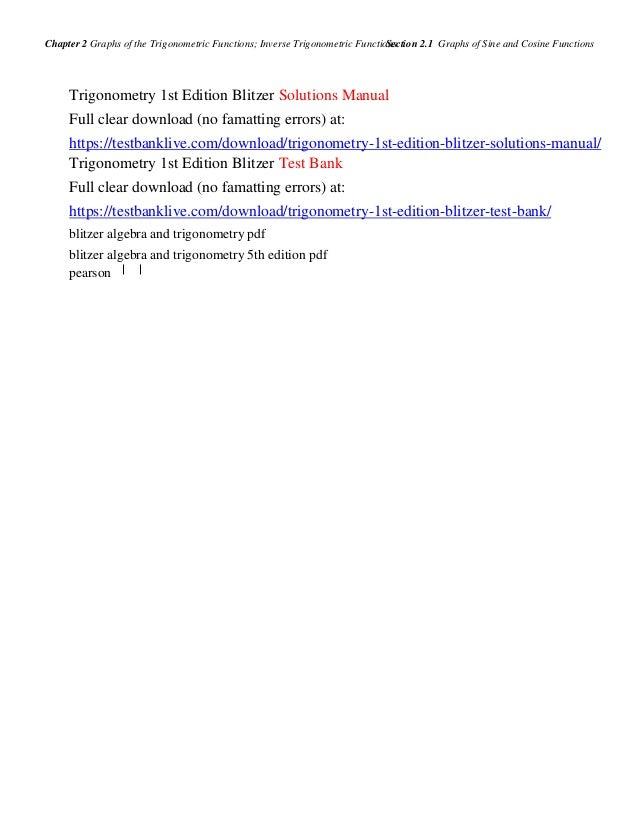 Trigonometry 1st edition blitzer solutions manual