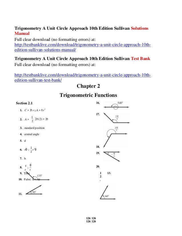 trigonometry a unit circle approach 10th edition sullivan solutions m rh slideshare net