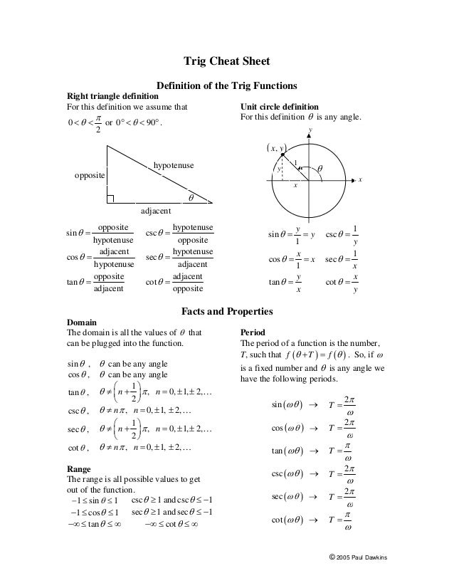 Formulas of trigonometric identities pdf