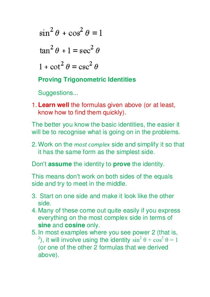 Trigonometry for class xi – Proving Trigonometric Identities Worksheet