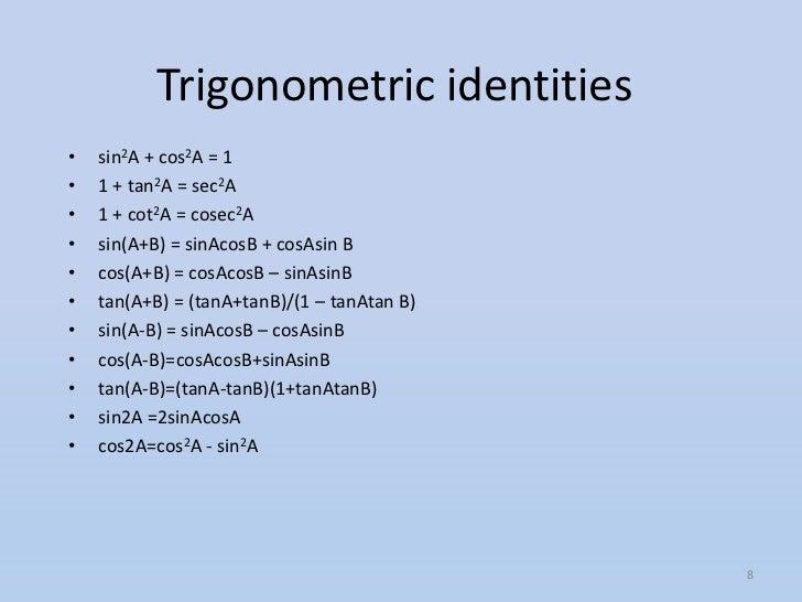 class 10 trigonometry formula