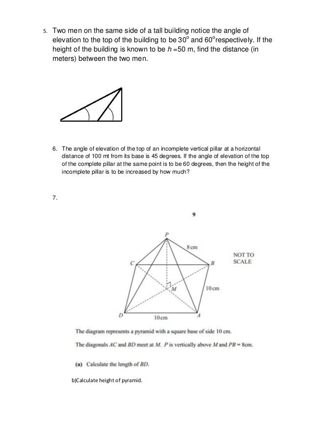 Trigonometry worksheet – Angle of Elevation Worksheet