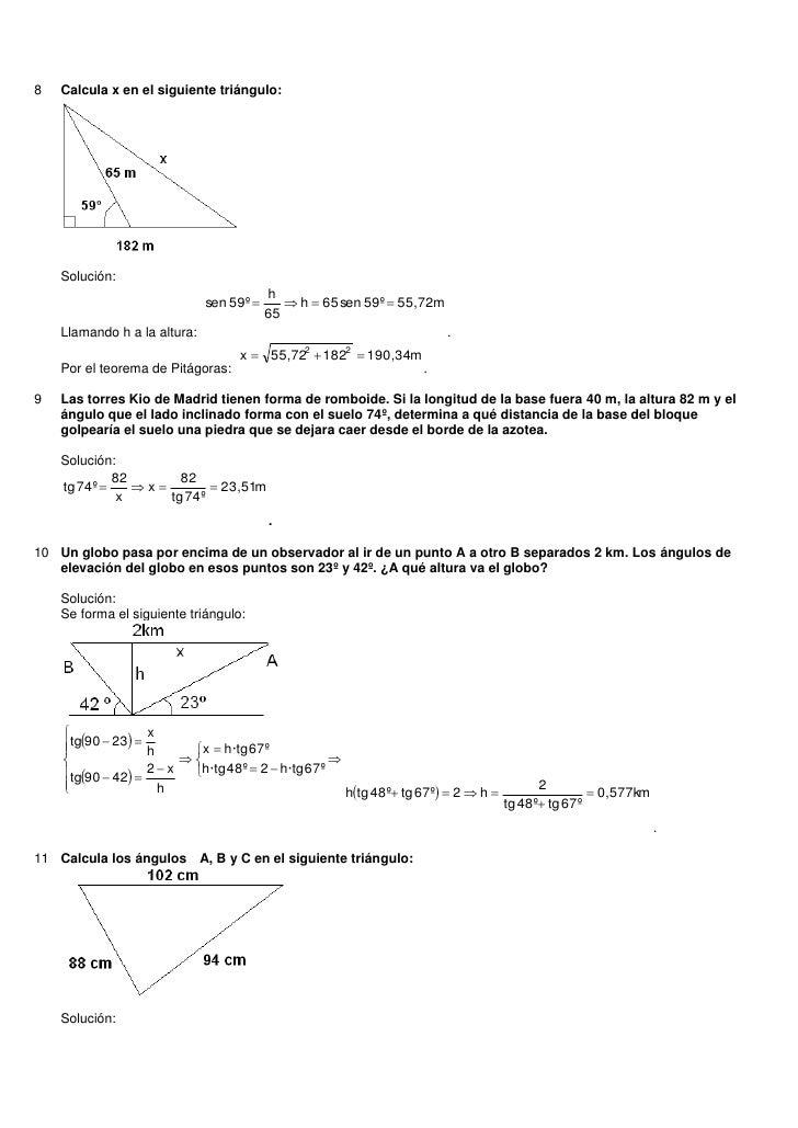 8   Calcula x en el siguiente triángulo:    Solución:                                          h                          ...