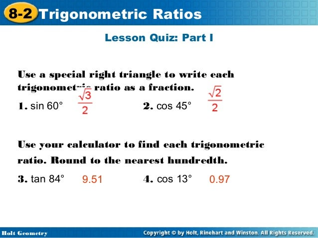 holt geometry lesson 8-2 problem solving trigonometric ratios