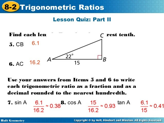 problem solving lesson 8-2 trigonometric ratios