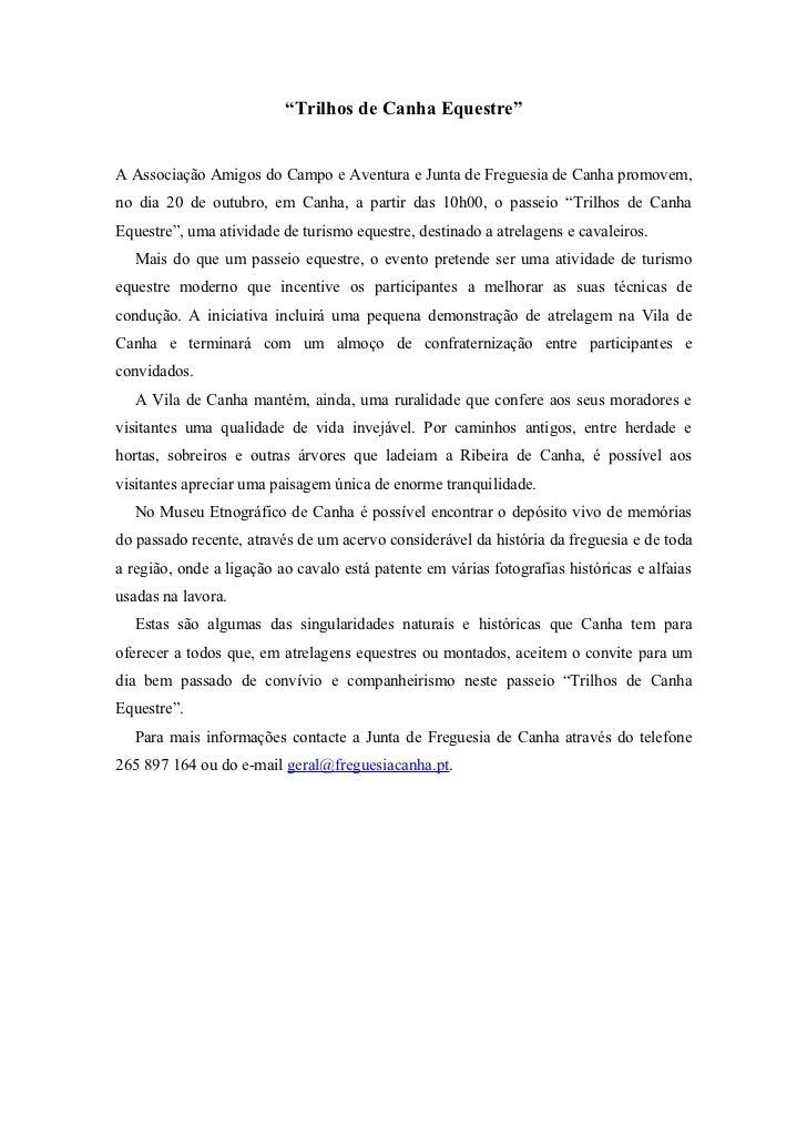 """""""Trilhos de Canha Equestre""""A Associação Amigos do Campo e Aventura e Junta de Freguesia de Canha promovem,no dia 20 de out..."""