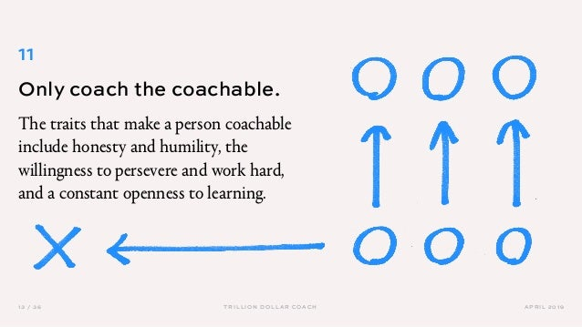 APRIL 201913 / 36 TRILLION DOLLAR COACH 11 Only coach the coachable. The traits that make a person coachable include hones...