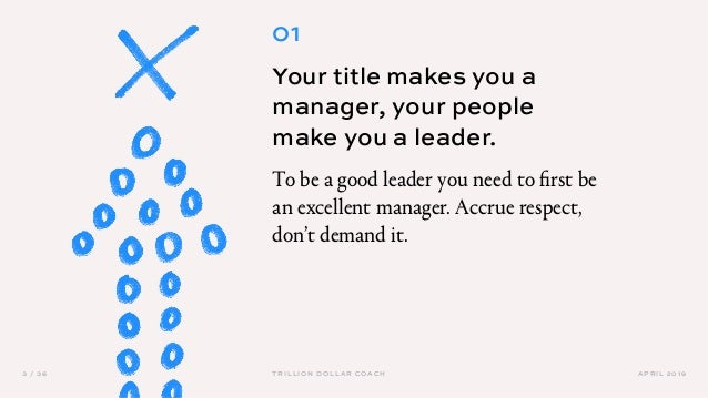 APRIL 20193 / 36 TRILLION DOLLAR COACH 01 Your title makes you a manager, your people make you a leader. To be a good lead...