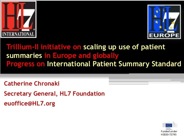 Trillium-II initiative on scaling up use of patient summaries in Europe and globally Progress on International Patient Sum...