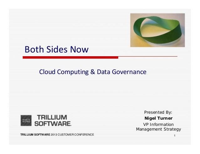 TRILLIUM SOFTWARE 2013 CUSTOMER CONFERENCEBoth Sides NowCloud Computing & Data GovernancePresented By:Nigel TurnerVP Infor...