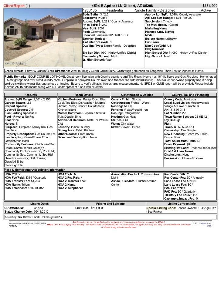 Client Report (1)                                                                4594 E Apricot LN Gilbert, AZ 85298      ...