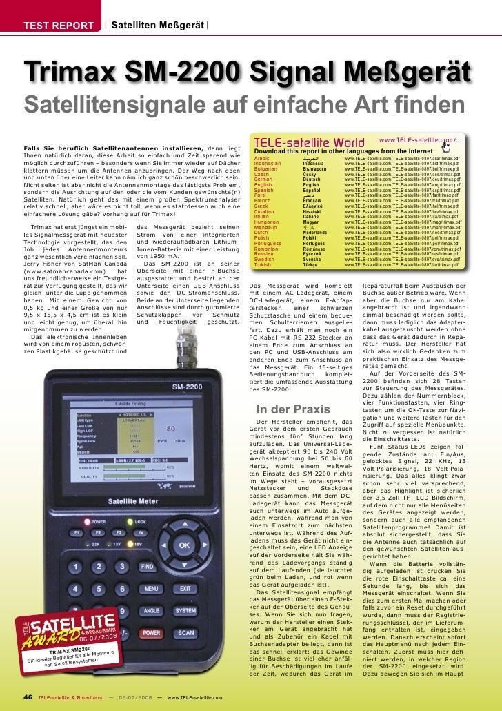 TEST REPORT                            Satelliten Meßgerät     Trimax SM-2200 Signal Meßgerät Satellitensignale auf einfac...