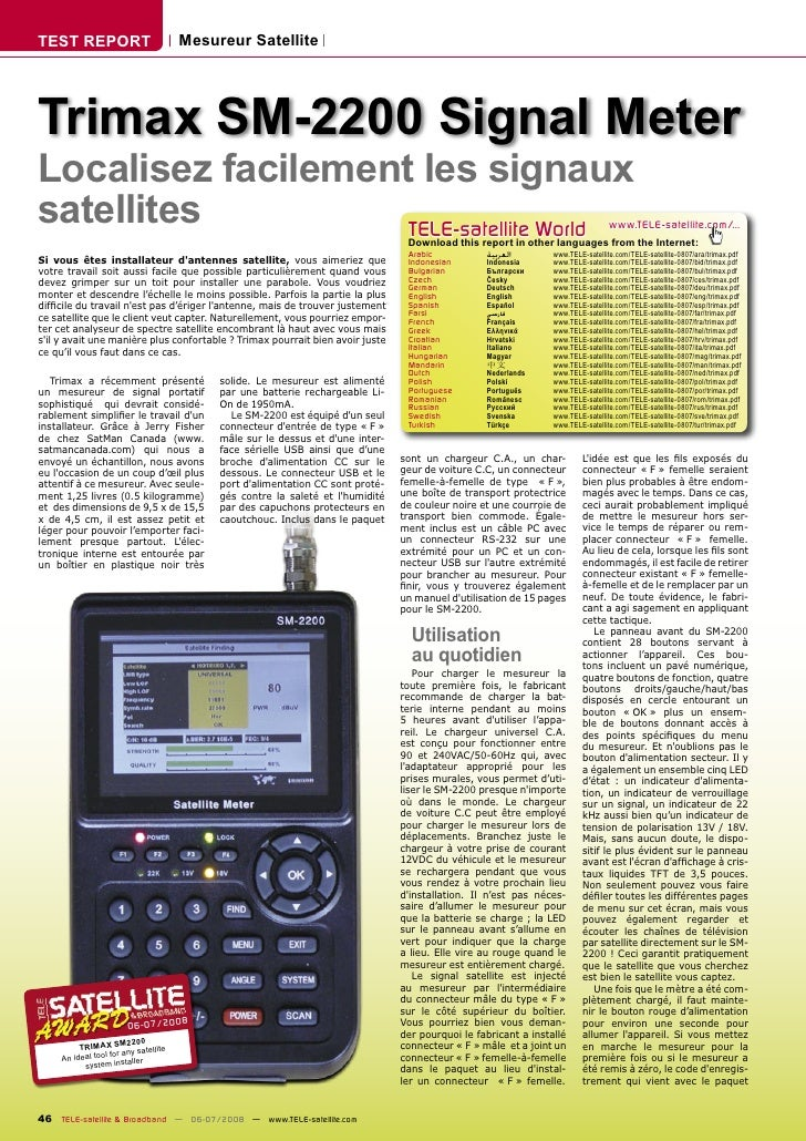 TEST REPORT                          Mesureur Satellite     Trimax SM-2200 Signal Meter Localisez facilement les signaux s...