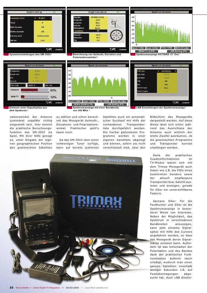 Systemeinstellungen des SM-3500                       Berechnung von Azimuth, Elevation und          Spektrumanzeige HOTBI...