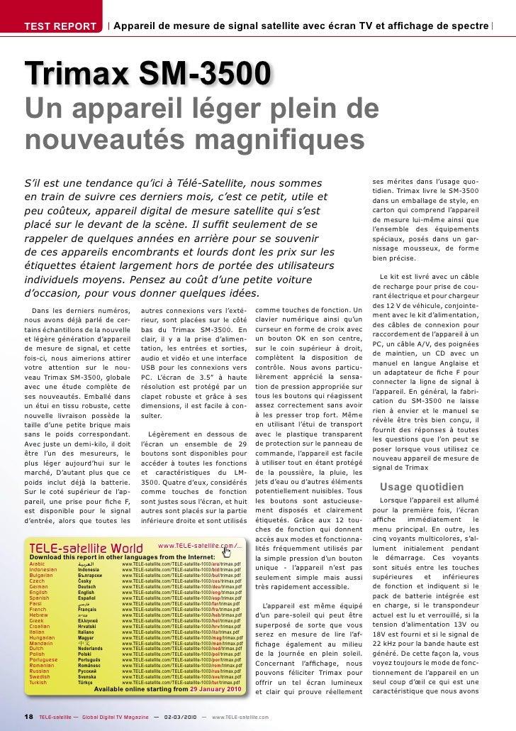 TEST REPORT                       Appareil de mesure de signal satellite avec écran TV et affichage de spectre     Trimax S...