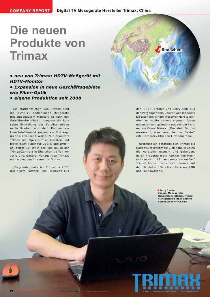 COMPANY REPORT                         Digital TV Messgeräte Hersteller Trimax, ChinaDie neuenProdukte von                ...