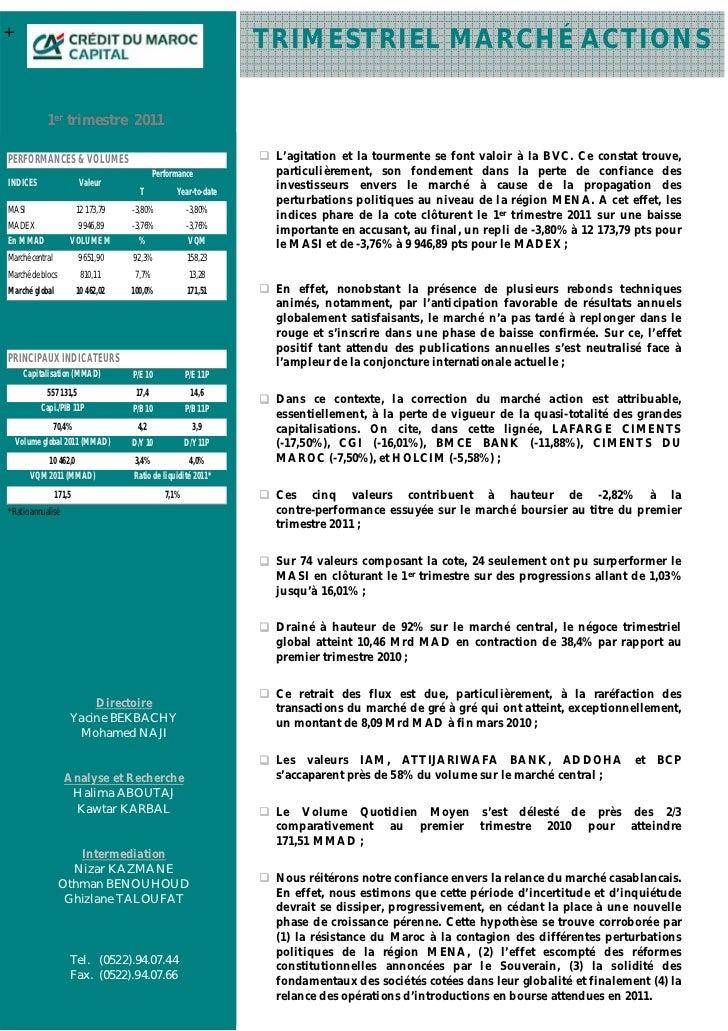 +                                                                  TRIMESTRIEL MARCHÉ ACTIONS            1er trimestre 201...