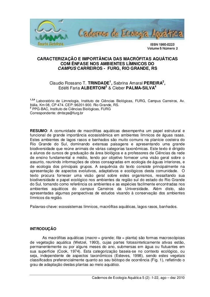 CARACTERIZAÇÃO E IMPORTÂNCIA DAS MACRÓFITAS AQUÁTICAS                COM ÊNFASE NOS AMBIENTES LÍMNICOS DO               CA...