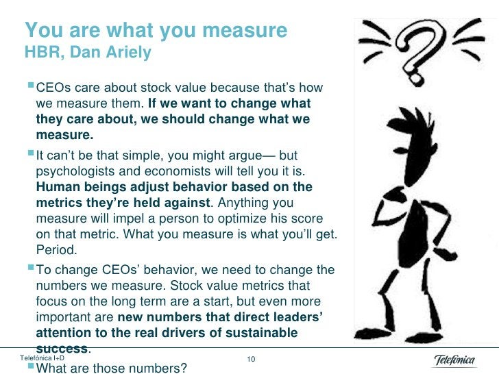 You are what you measure HBR, Dan Ariely  CEOs care about stock value because that's how     we measure them. If we want ...