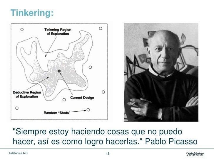 """Tinkering:   """"Siempre estoy haciendo cosas que no puedo   hacer, así es como logro hacerlas."""" Pablo PicassoTelefónica I+D ..."""
