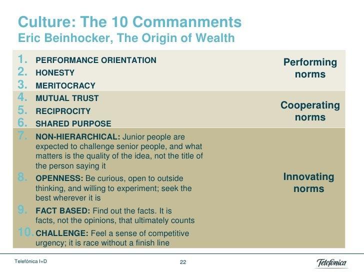 Culture: The 10 Commanments Eric Beinhocker, The Origin of Wealth 1.      PERFORMANCE ORIENTATION                         ...