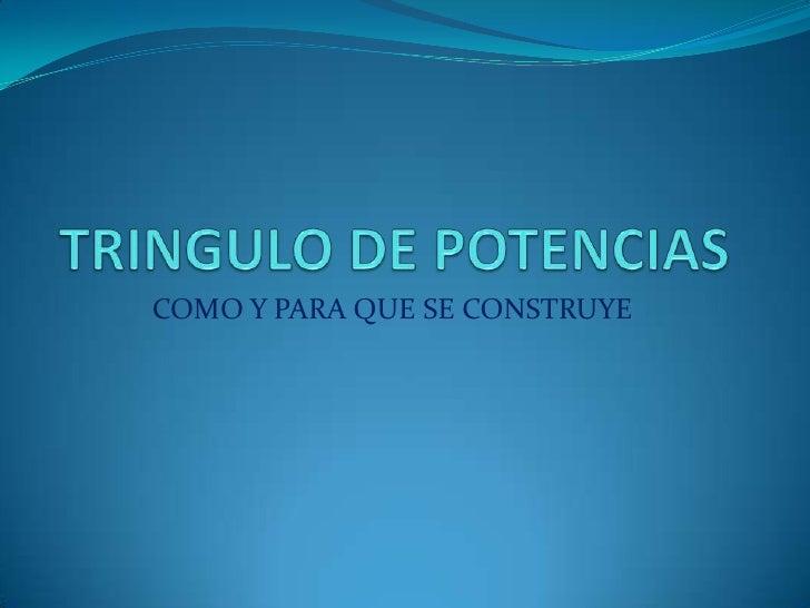 TRINGULO DE POTENCIAS<br />COMO Y PARA QUE SE CONSTRUYE<br />