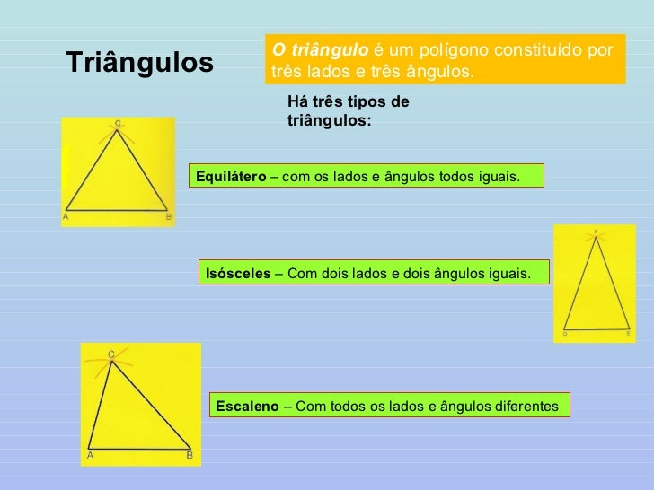 Triângulos O triângulo  é um polígono constituído por três lados e três ângulos.  Há três tipos de triângulos: Equilátero ...