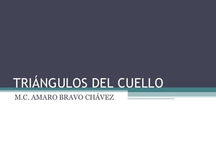TRIÁNGULOS DEL CUELLO M.C. AMARO BRAVO CHÁVEZ