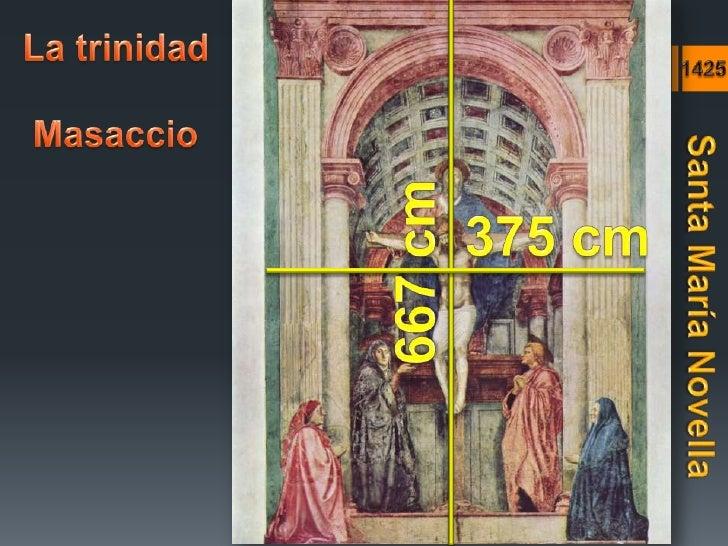 La trinidad<br />1425<br />Masaccio<br />375 cm<br />667 cm<br />Santa María Novella<br />